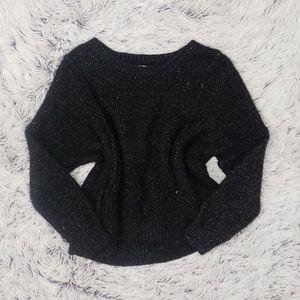 Jennifer Lopez Black Glitter Eyelash Sweater